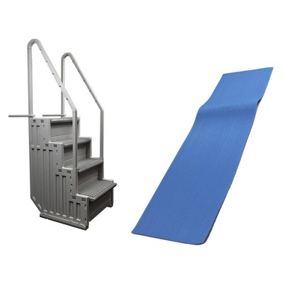 "Confer STEP-1 Above Ground Swimming Pool Ladder & Swimline 9x36"" Ladder Mat"