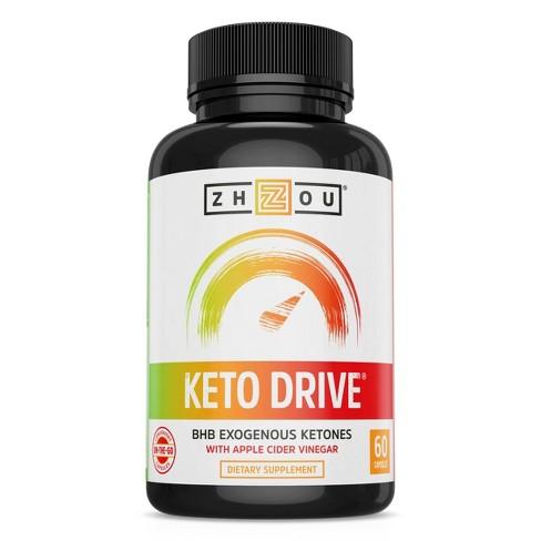 Zhou Keto Drive BHB Ketones Dietary Supplement Capsules - Apple Cider Vinegar - 60ct - image 1 of 4