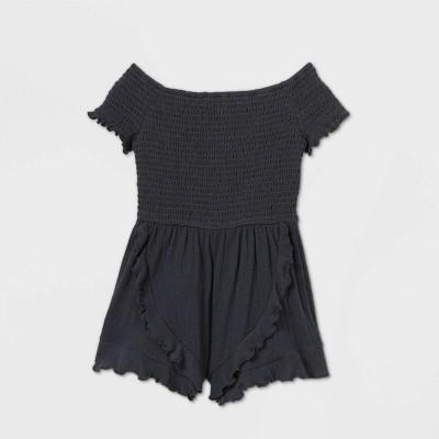 Girls' Smocked Knit Romper - art class™ Gray L