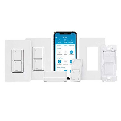 Lutron Caseta Deluxe Smart Switch Kit   Works with Alexa, Apple HomeKit, and the Google Assistant   P-BDG-PKG2WS-WH   White.