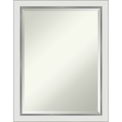 "21"" x 27"" Eva White Silver Framed Bathroom Vanity Wall Mirror - Amanti Art"