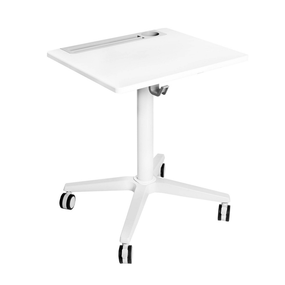 Image of Airlift Height Adjustable Sit/Stand Mobile Desk with Cup Holder White - Seville Classics