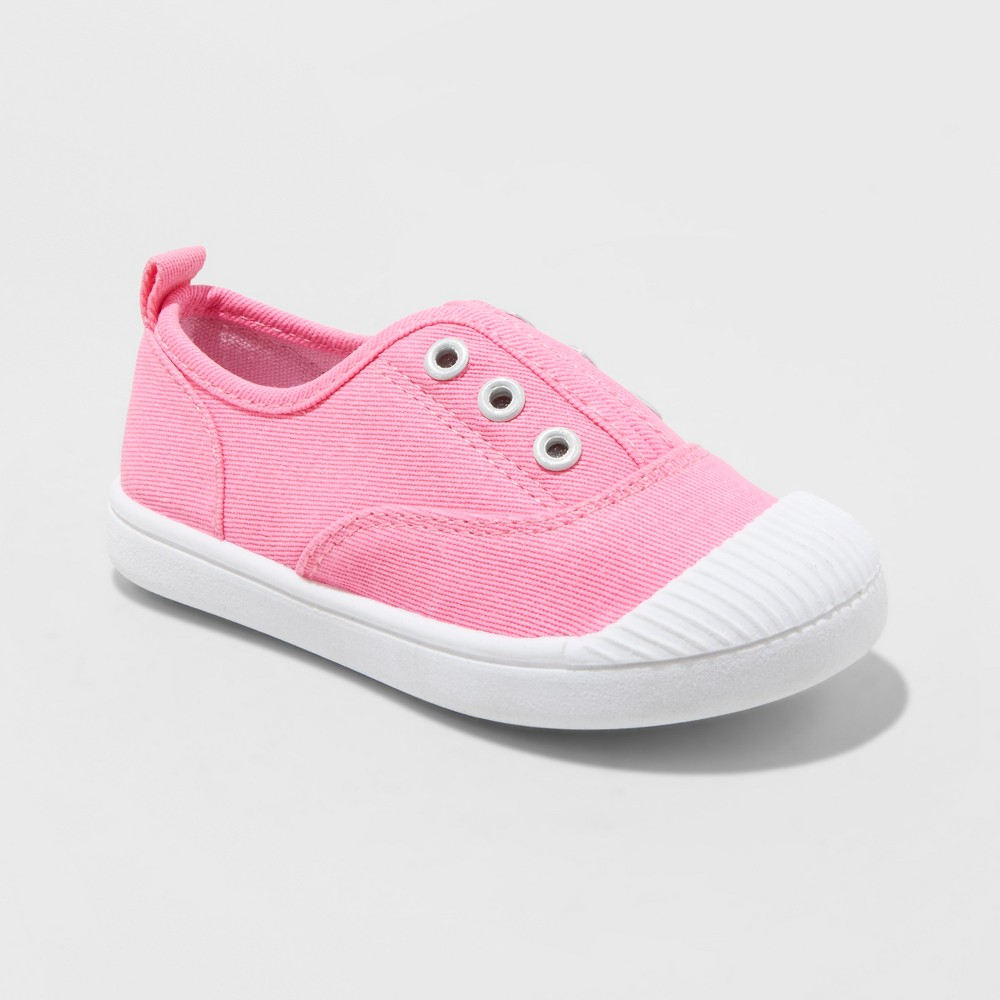 Toddler Girls' Alivia Canvas Slip On Sneakers - Cat & Jack Pink 11