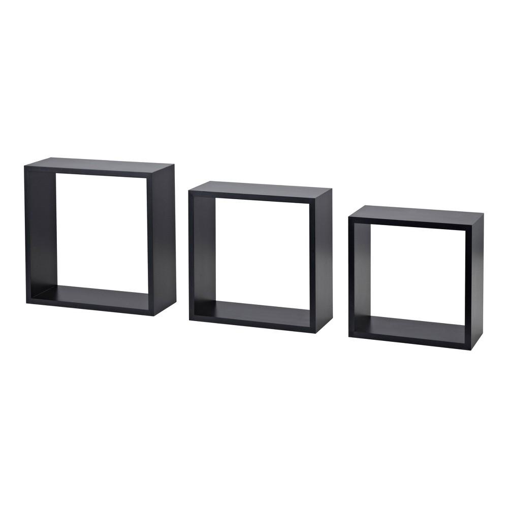 Image of 3pc Cube Shelf Set Black - Dolle Shelving