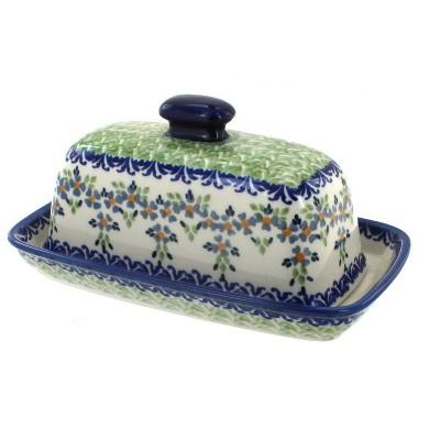 Blue Rose Polish Pottery Summer Vine Butter Dish