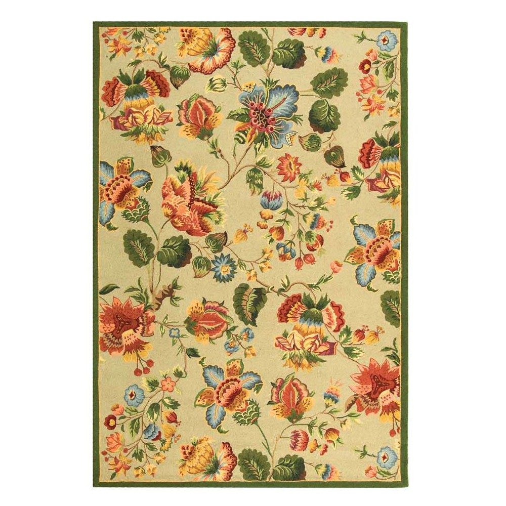 6'X9' Floral Hooked Area Rug Sage (Green) - Safavieh