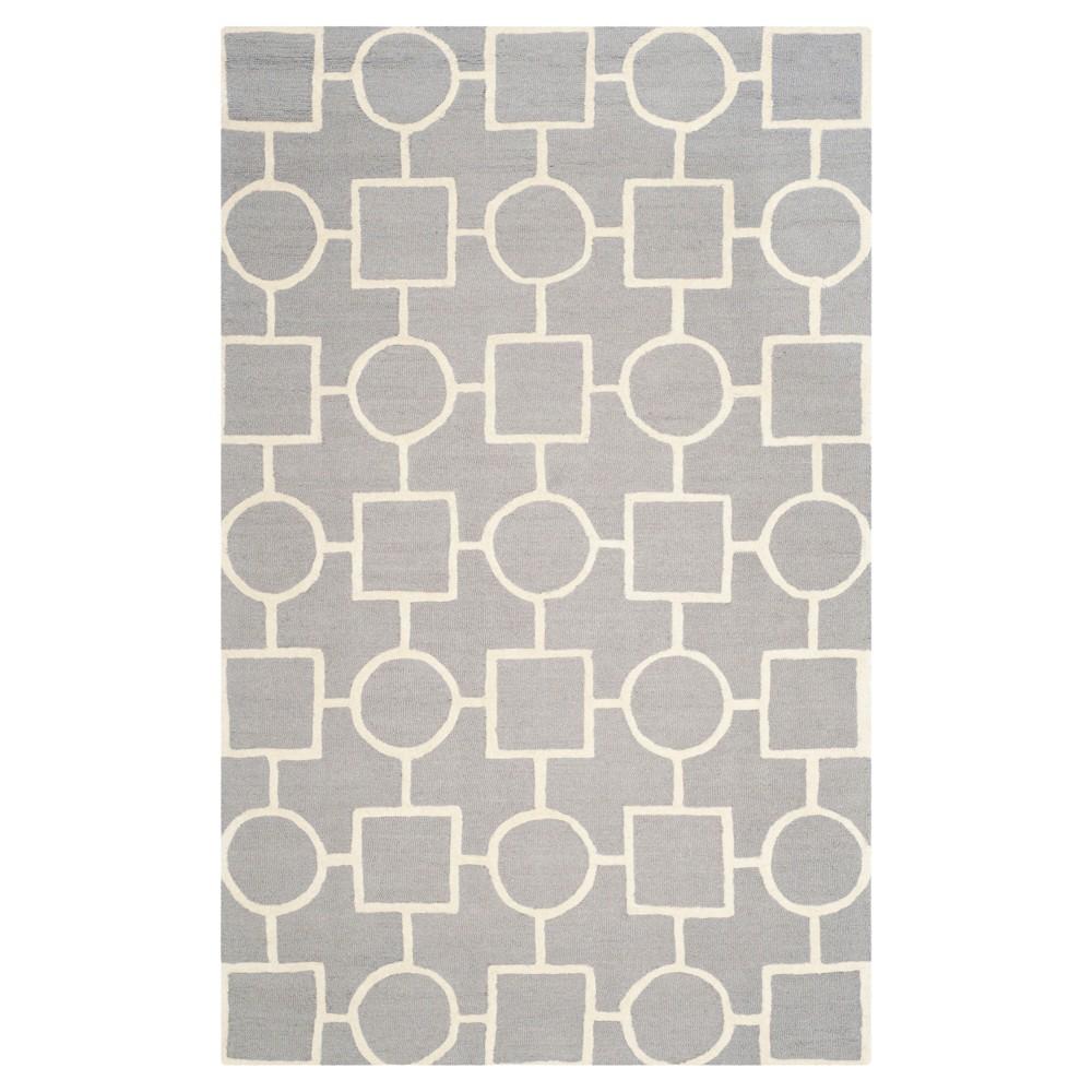 Sumner Texture Wool Rug - Silver / Ivory (6' X 9') - Safavieh, Silver/Ivory