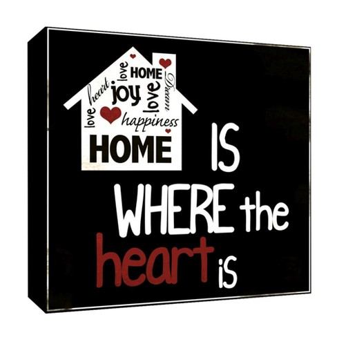 "Where The Heart Is Decorative Canvas Wall Art 16""x16"" - PTM Images - image 1 of 1"