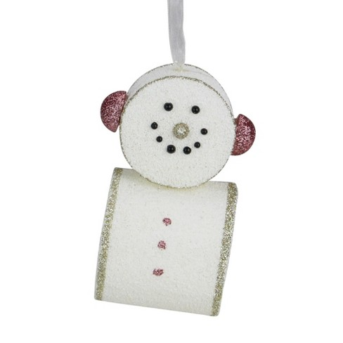 """Roman 4.5"""" Glittered Smiling Marshmallow Snowman Christmas Ornament - Pink - image 1 of 3"""