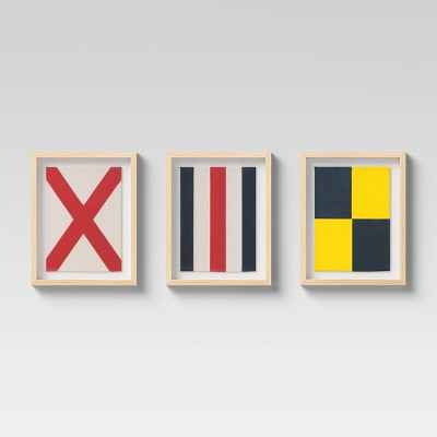 Set of 3 Framed Nautical Textiles - Threshold™