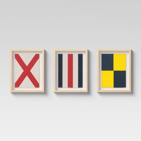 Set of 3 Framed Nautical Textiles - Threshold™ - image 1 of 4