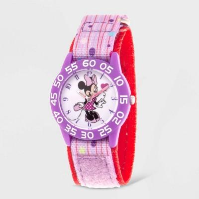 Girls' Disney Minnie Mouse Plastic Time Teacher Watch - Purple