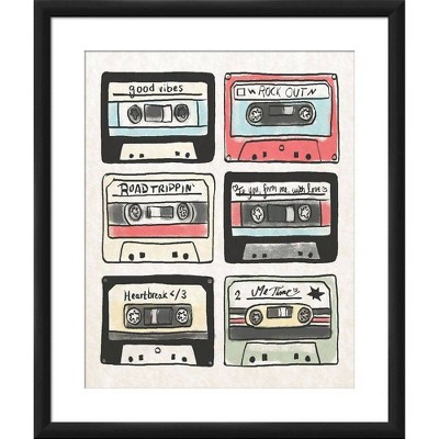 """18"""" x 22"""" Matted to 2"""" Tape Collection Picture Framed Black - PTM Images"""