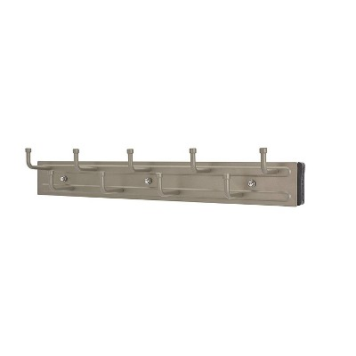 Rev-A-Shelf BRC-14SN 14-Inch Wall Mounted Pullout Closet Belt and Scarf Organization Rack Accessories Holder Hanger with 9 Hooks, Satin Nickel