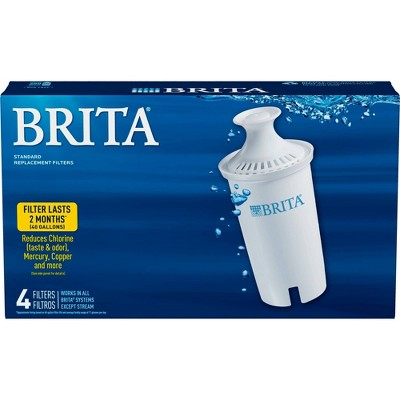 Brita Standard BPA Free Replacement Water Filters for Pitchers and Dispensers - 4ct
