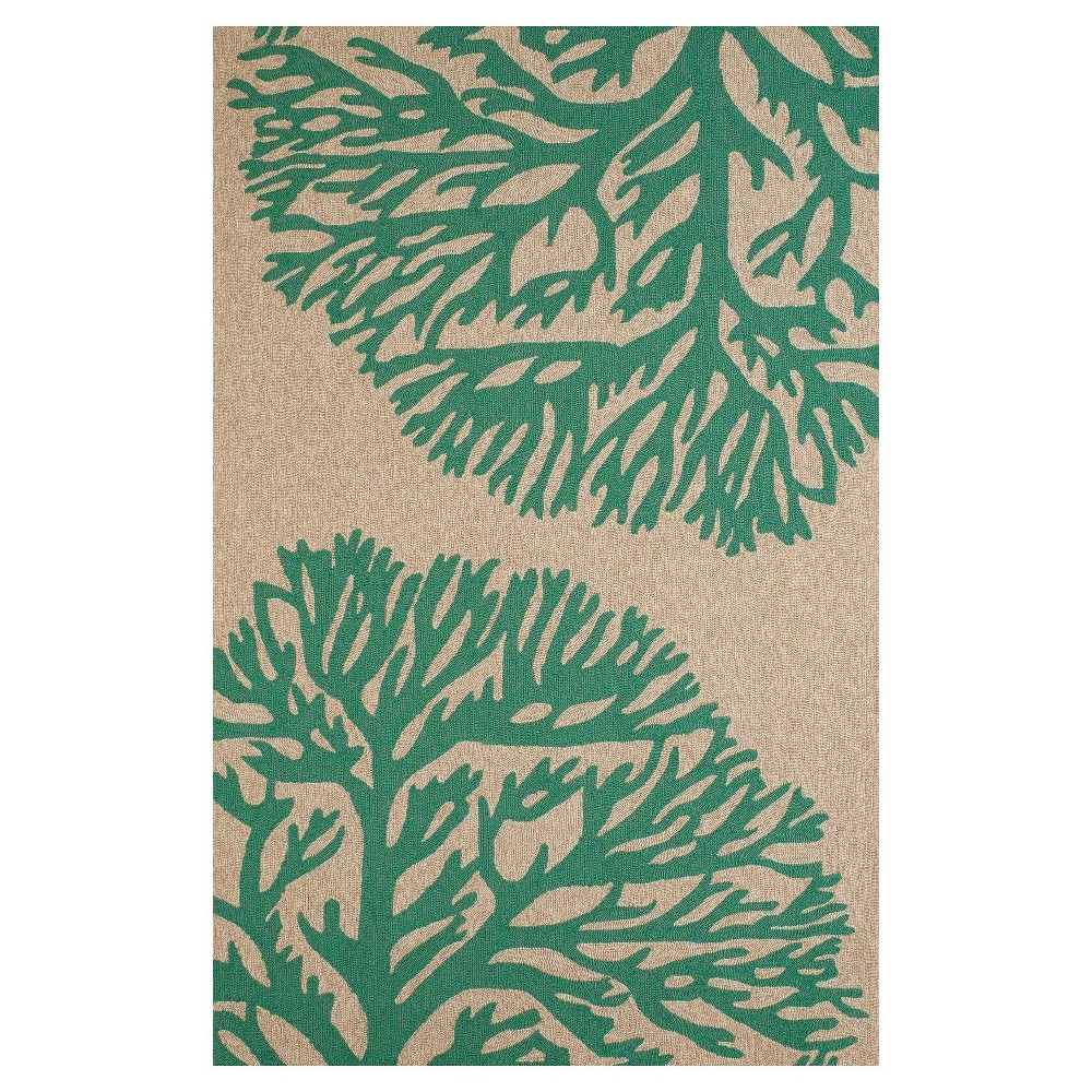 Green Hooked Area Rug - (7'10