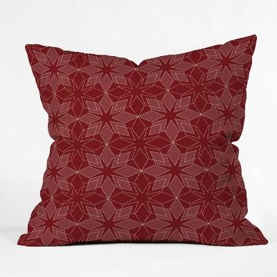 "16""x16"" Mirimo Celebration Stars Square Throw Pillow Red - Deny Designs"