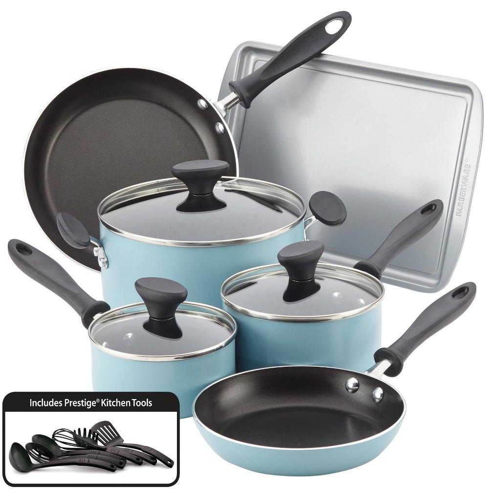 Image of Farberware Reliance 15pc Cookware and Bakeware Set Aqua (Blue)