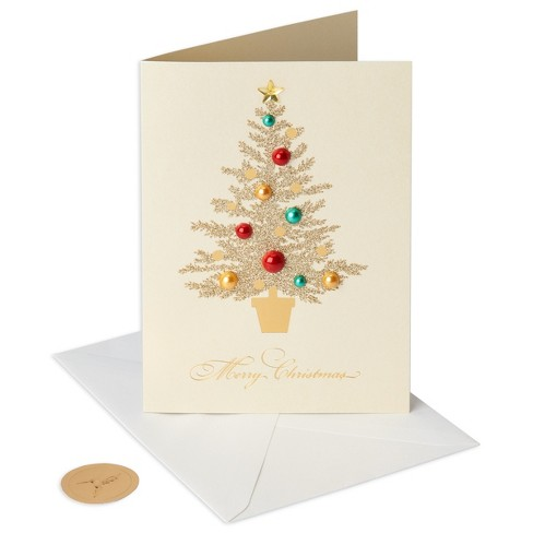 papyrus 8ct pearl tree gems handmade holiday boxed cards