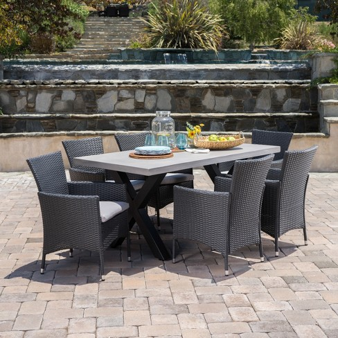 Sanibel 7pc Wicker Dining Set - Gray - Christopher Knight Home