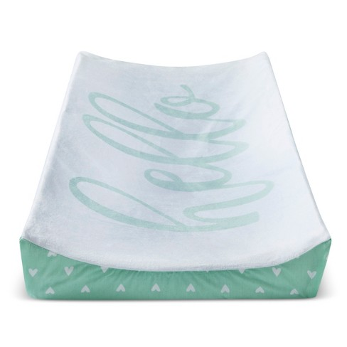 Plush Changing Pad Cover Hello - Cloud Island™ - Mint - image 1 of 1