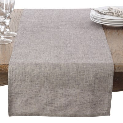 Heavy Denier Linen Classic Table Topper Runner Natural - Saro Lifestyle