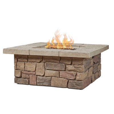Sedona Square Gas Fire Table with Natural Gas Kit Beige - Real Flame