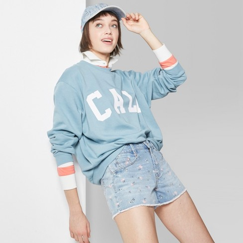 Women's Oversized Crew Sweatshirt - Wild Fable™ Blue Stencil - image 1 of 3