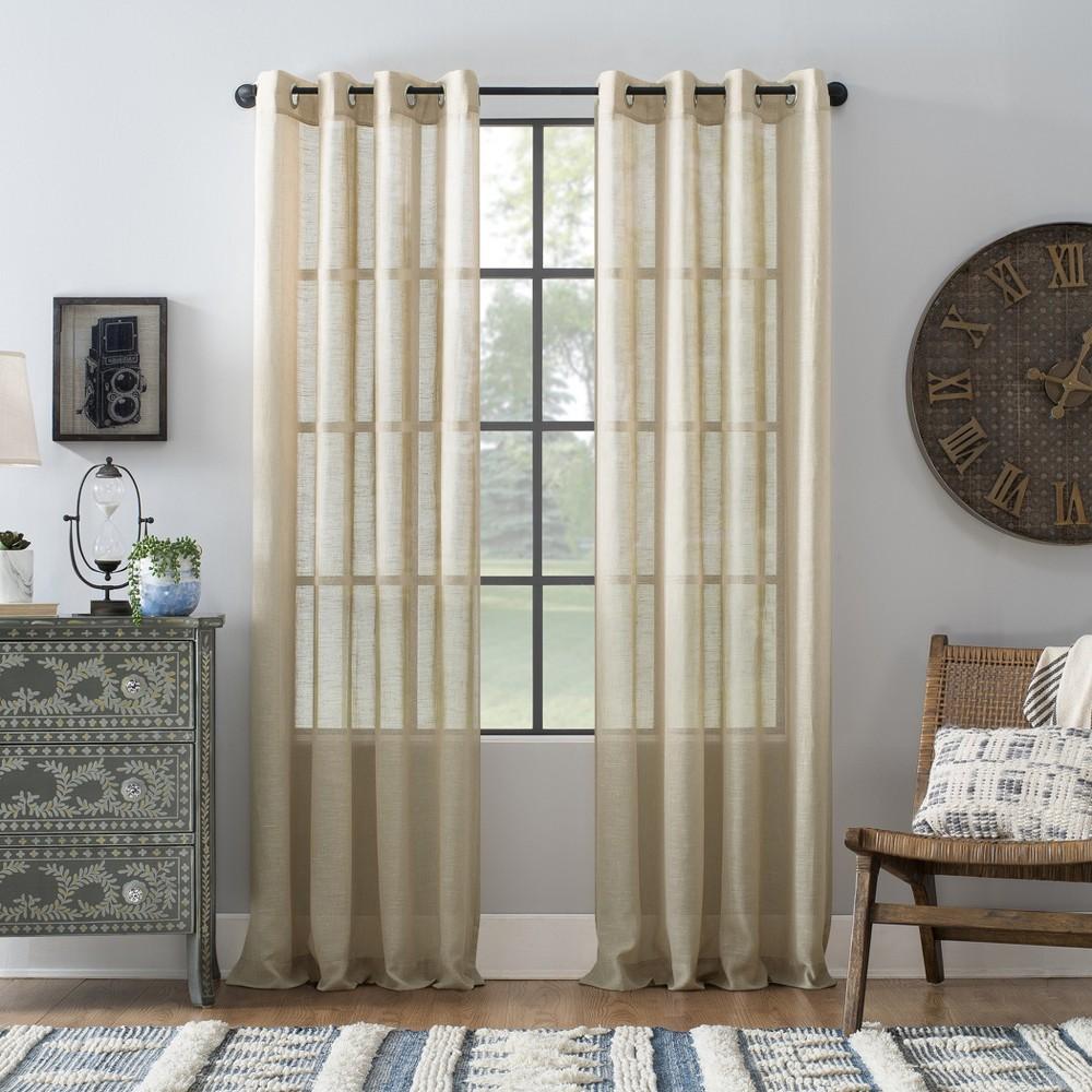 "Image of ""52""""x63"""" Slub Textured Linen Blend Grommet Top Curtain Linen - Archaeo"""