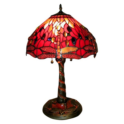 Tiffany Style Red Dragonfly Lamp with Mosaic Base - image 1 of 1