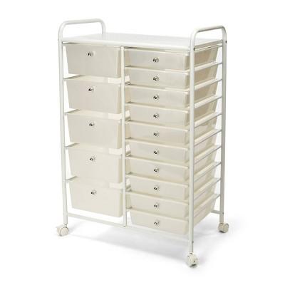 Seville Classics 15 Drawer Steel Organizer Wheeled Cart White