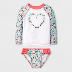 3619d0c3c8 Toddler Girls' Long Sleeve Raglan Rash Guard Set - Cat & Jack™ White