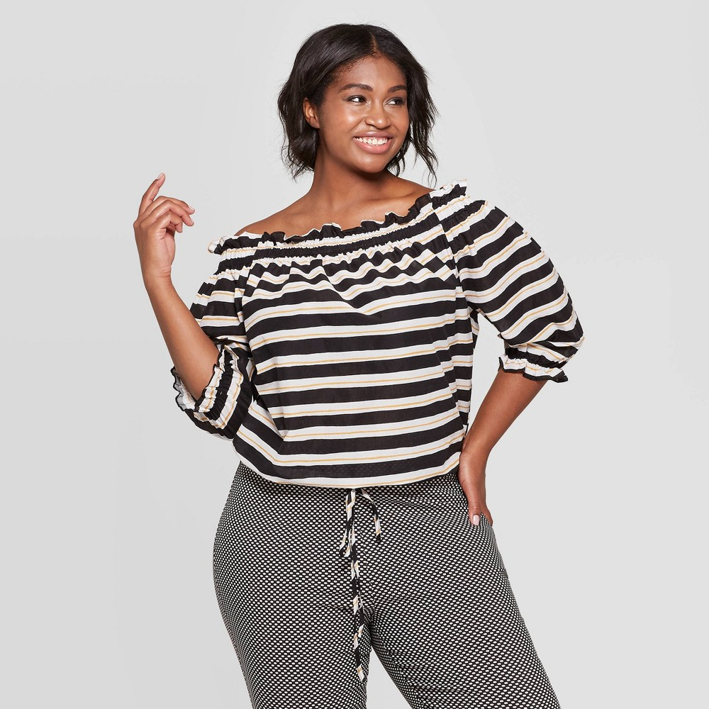 Women's Plus Size Striped 3/4 Sleeve Off the Shoulder Bardot Top - Who What Wear Black/White 1X