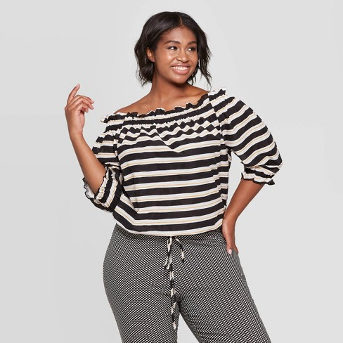 7bf95c462e3155 Women s Plus Size Striped 3 4 Sleeve Off The Shoulder Bardot Top - Who What  Wear™ Black White   Target