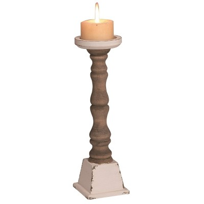 Transpac Wood 14 in. Brown Spring Cottage Pillar Candle Holder