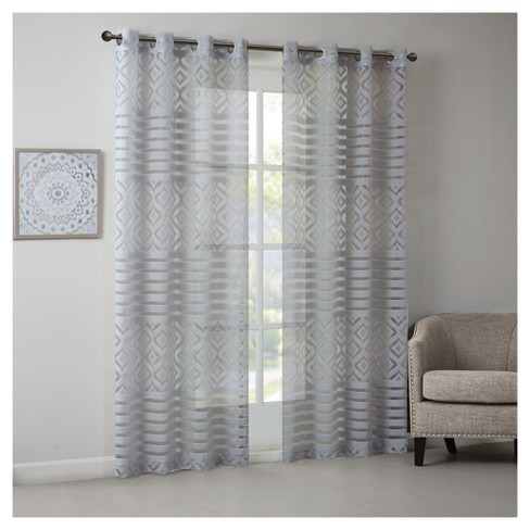 "Marian Geo Burnout Sheer Window Curtain Panel (50""x84"") - image 1 of 3"