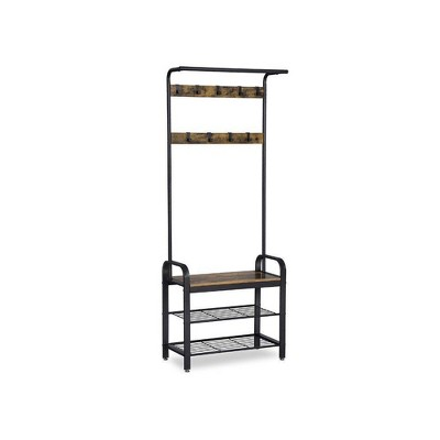 Metal and Wood Framed Coat Rack with Multiple Hooks and Storage Shelves Brown and Black - Benzara