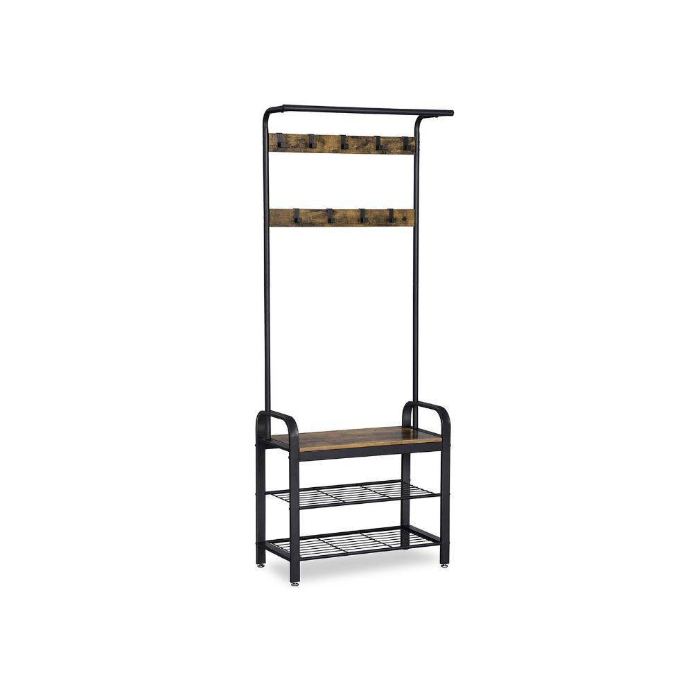 Image of Metal and Wood Framed Coat Rack with Multiple Hooks and Storage Shelves Brown and Black - Benzara, Black Brown