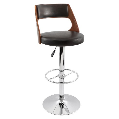 "Presta Bent Wood Back 32"" Barstool Metal/Cherry Brown - LumiSource - image 1 of 5"