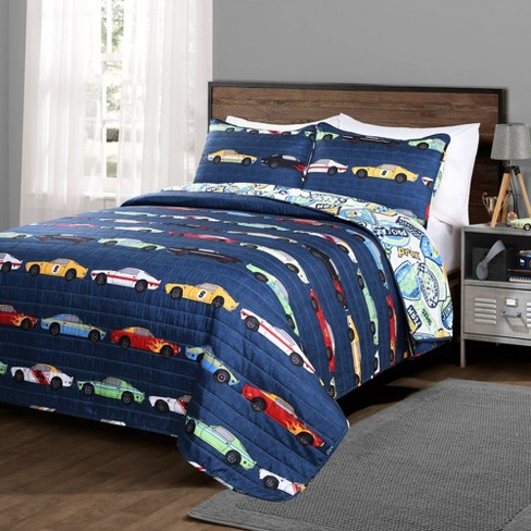 3pc Full/Queen Race Car Bedding Set Navy - Lush Decor - image 1 of 4