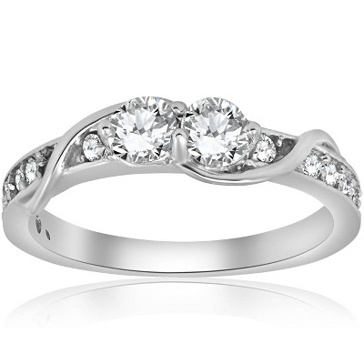 Pompeii3 5/8ct Diamond Two Stone Forever Us Crossover Engagement 10k White Gold Ring