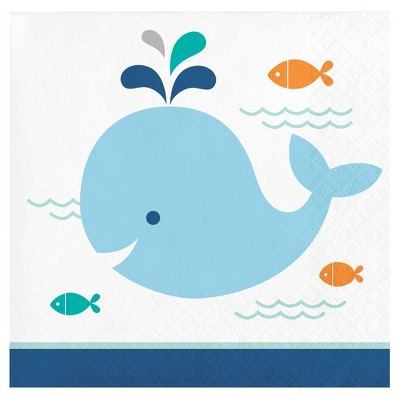16ct Blue Baby Whale Cocktail Beverage Napkins