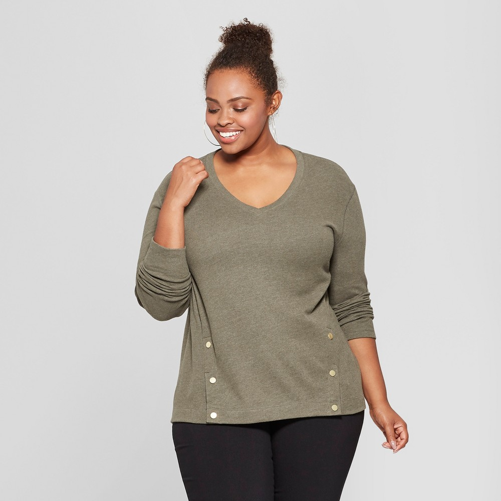 Women's Plus Size Textured Long Sleeve Pullover - Ava & Viv Olive (Green) 1X