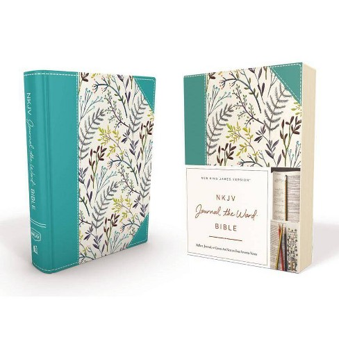 NKJV, Journal the Word Bible, Hardcover, Blue Floral Cloth, Red Letter Edition - by  Thomas Nelson - image 1 of 1