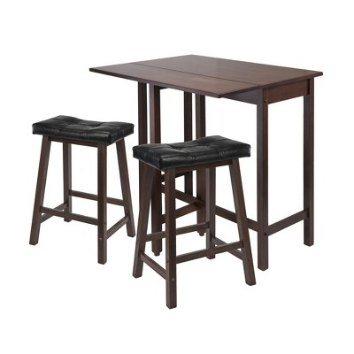 3pc Lynnwood Set Drop Leaf High Table with Cushion Counter Stools Wood/Walnut/Black - Winsome