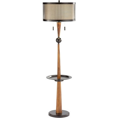 Franklin Iron Works Rustic Vintage Floor Lamp with Table and USB Painted Bronze Faux Wood Oatmeal Linen Drum Shade Living Room