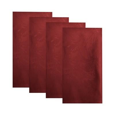 """Poinsettia Elegance Jacquard Holiday Napkins, Set of 4 - 17"""" x 17"""" - Elrene Home Fashions"""