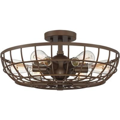"Franklin Iron Works Rustic Farmhouse Ceiling Light Semi Flush Mount Fixture Oiled Bronze 18"" Wide 6-Light Open Basket Cage Bedroom"