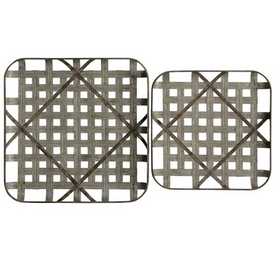 23.62  2pc Metal Grid Trays Decorative Wall Art Gray - StyleCraft