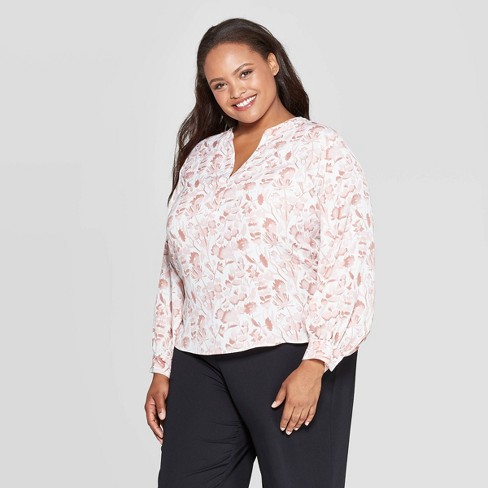 Women's Plus Size Floral Print Long Sleeve V-Neck Popover Top - Ava & Viv™ - image 1 of 2